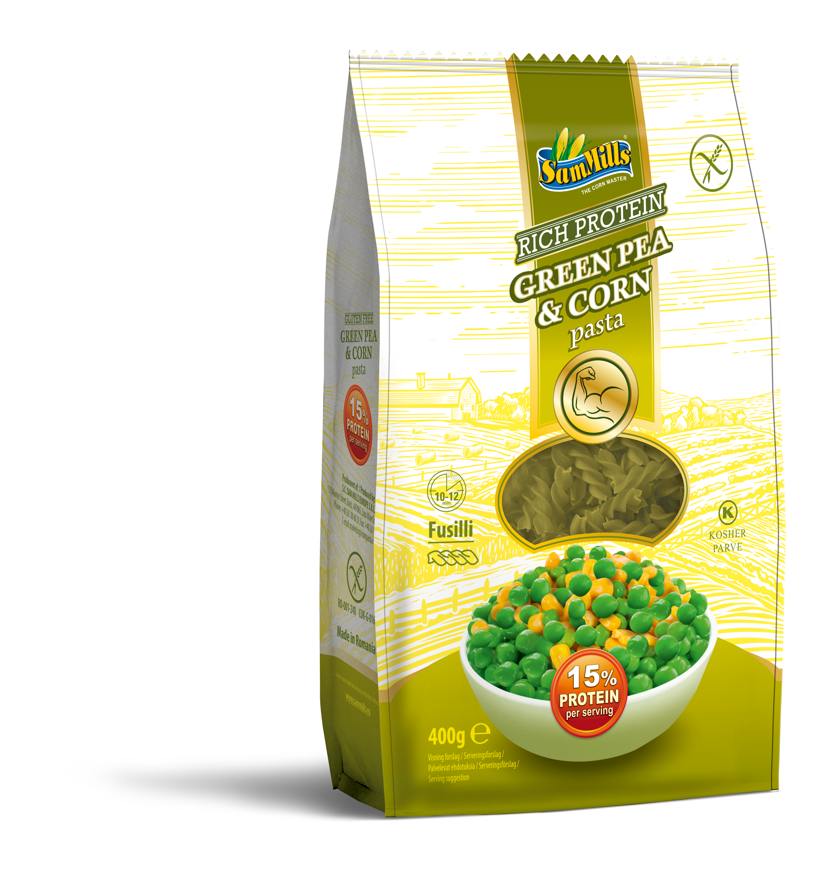 3D GreenPeaCorn Fusilli 400g.Scan  Products Line