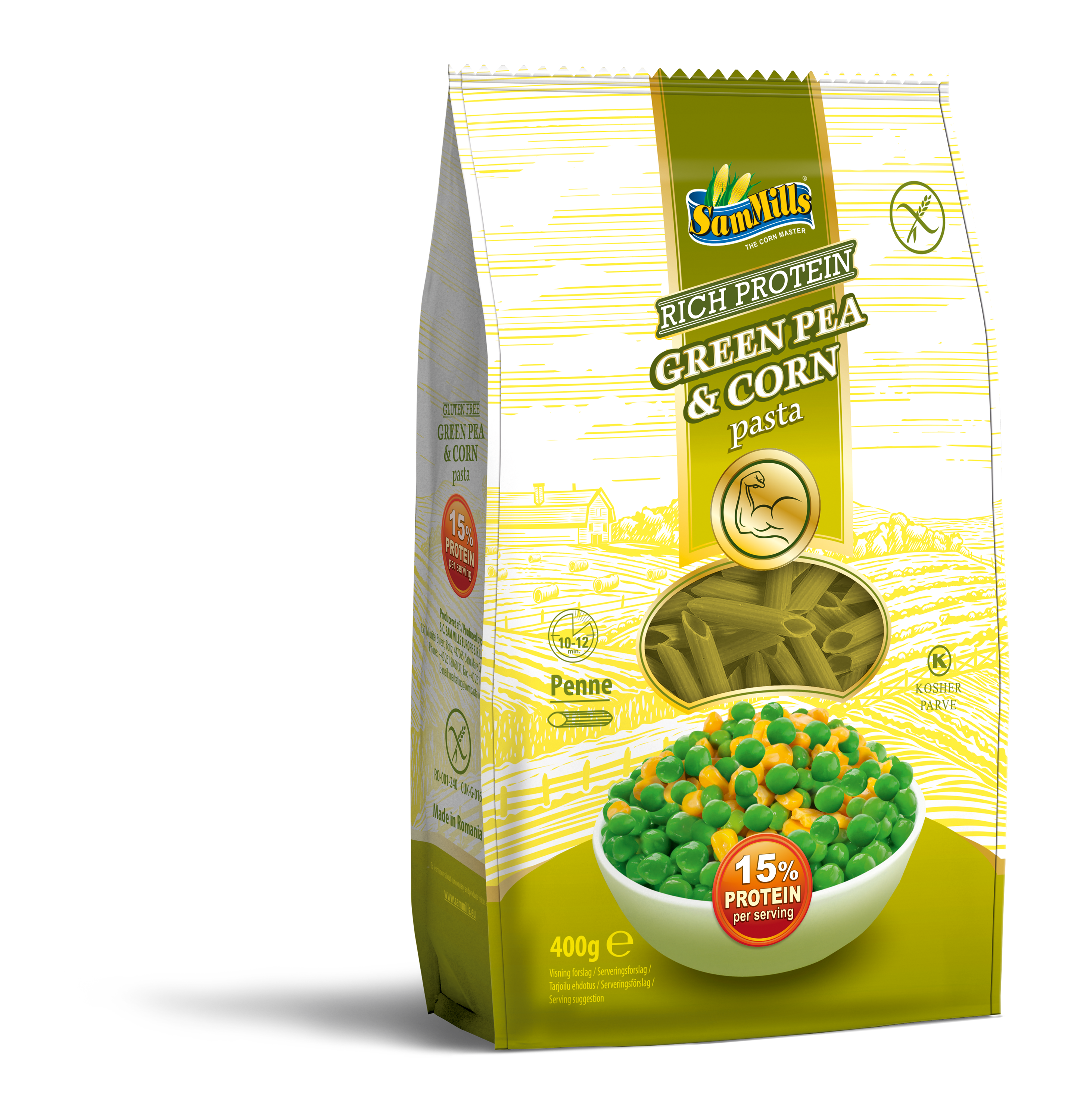 3D GreenPeaCorn Penne 400g.Scan  Products Line