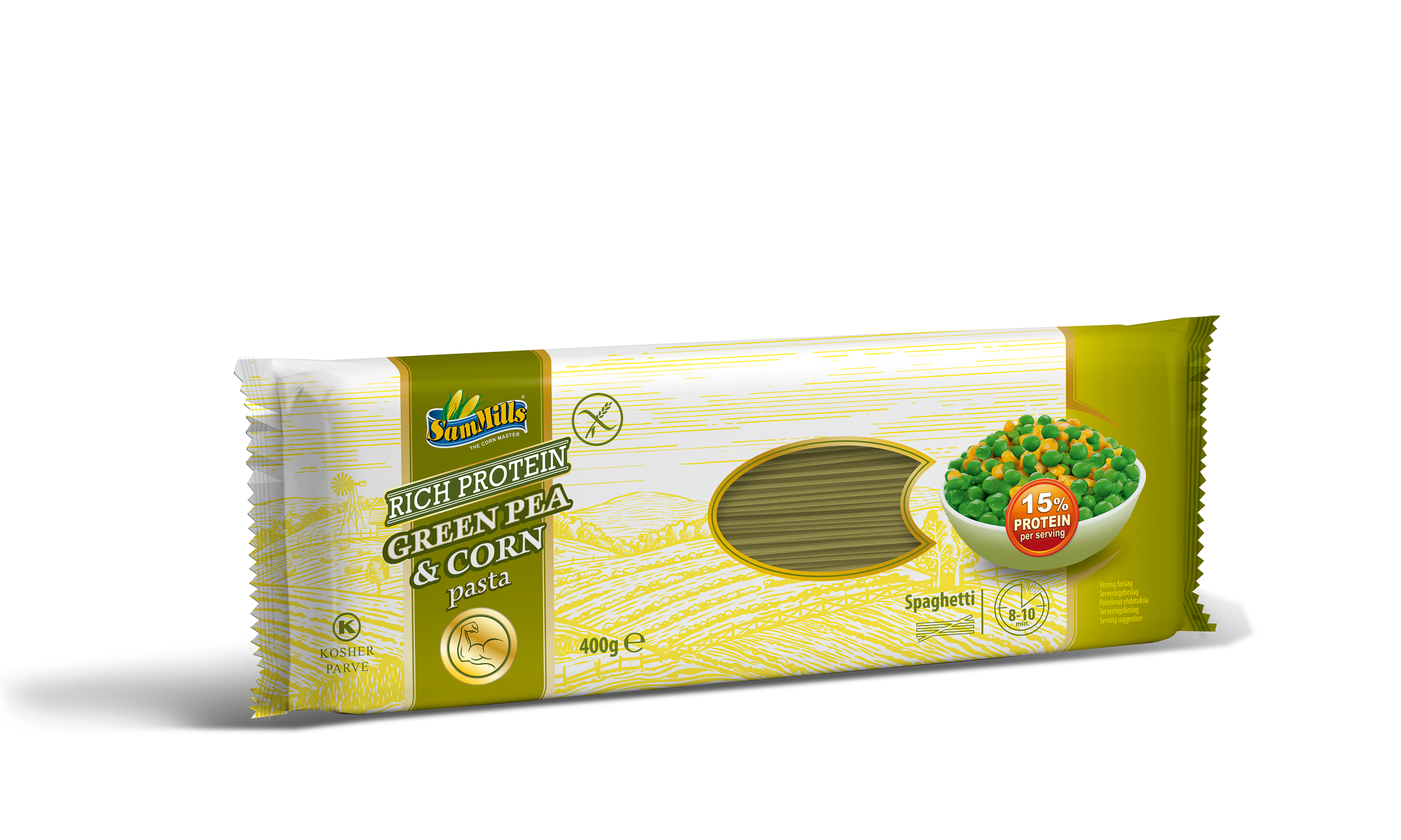 3D GreenPeaCorn Spaghetti.400g.Scan  Products Line